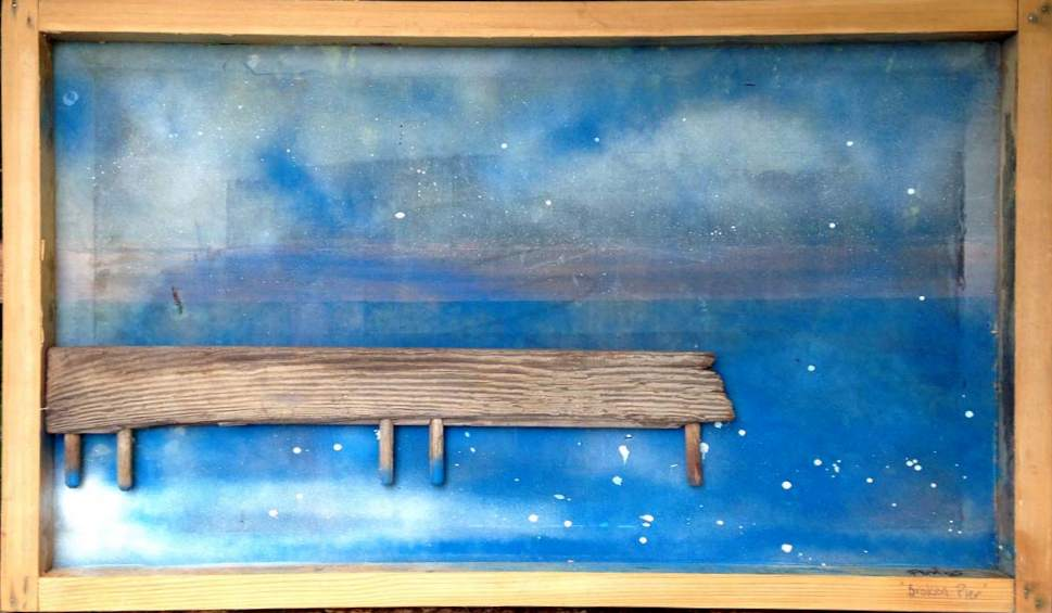 KIM GRACE: Broken Pier 100 x 60cm Piece of old door on discarded wooden sreen printing screen