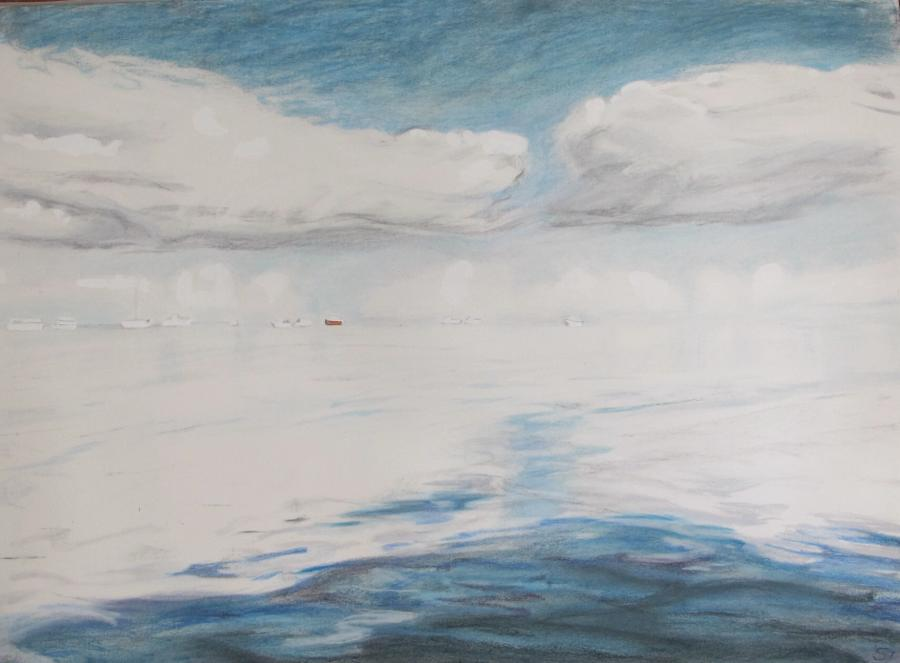 SUSAN INGRAM: Sky and Water, Denham WA Charcoal, gouache and pastel 56 x 76cm 2016
