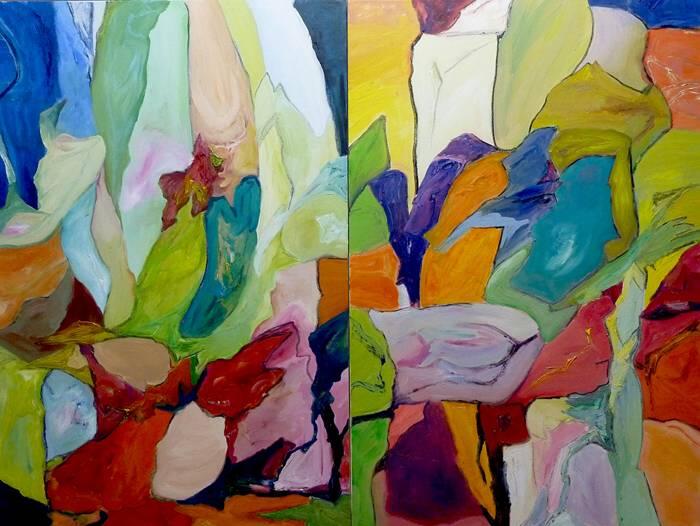 THE FLOWERING FLESH. Oil on canvas. 93cm x 125cm. FRAMED