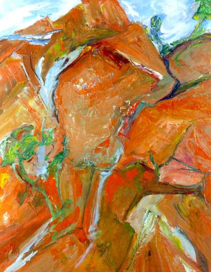 ORANGE OUTBACK.Oil on canvas. 77cm x 61cm.