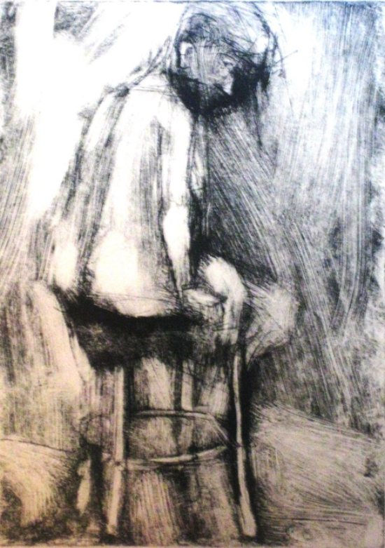 drypoint at Friend in Hand drypoint monoprint c2009