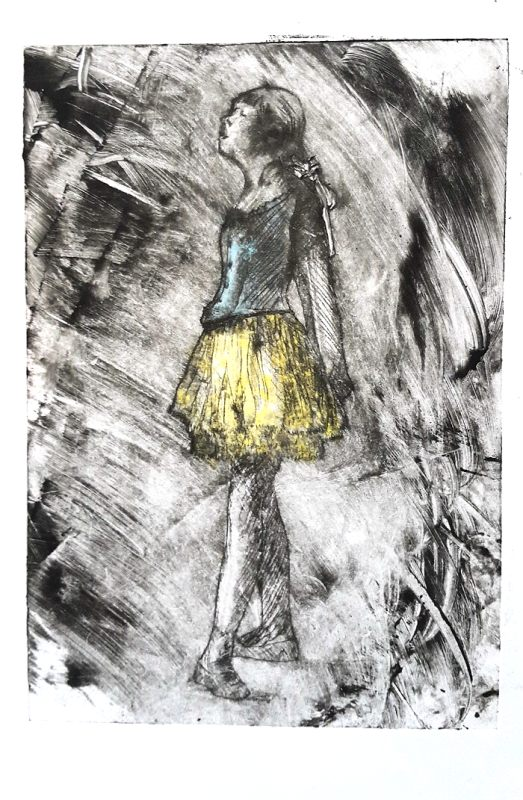 Jo Chipperfield. Degas' Dancer. 10 x 15cm Drypoint & Watercolour 2005