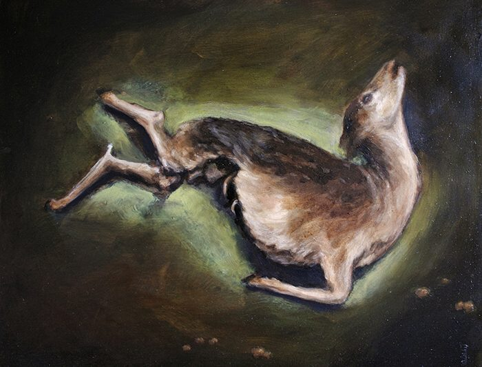 Lilianne Ivins: Deer 1 20 x 25 oil on board 2017