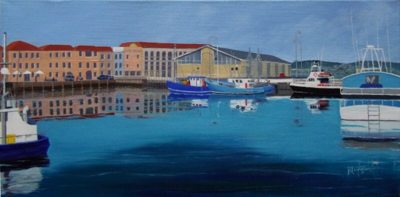Sheryl Morgan: Victoria Dock 60 x 30cm oil 2016