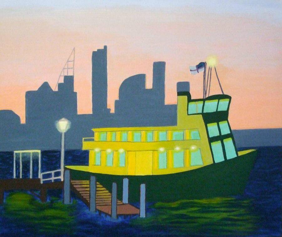 Jeanne Rudd: Darling Pt Ferry, Acrylic 61 x 51cm