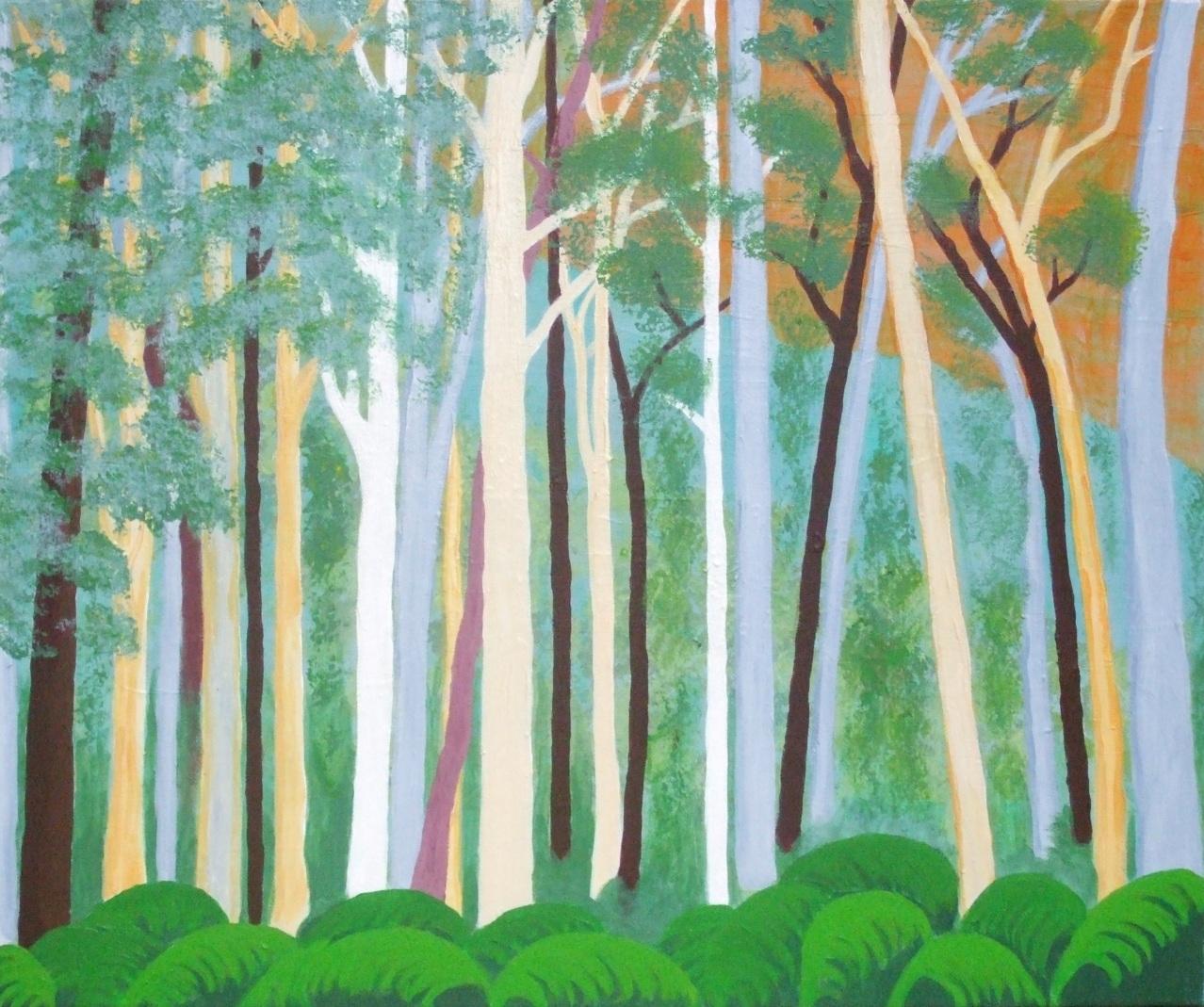 Jeanne Rudd: Blue Gum Forest, Acrylic 51 x 61cm