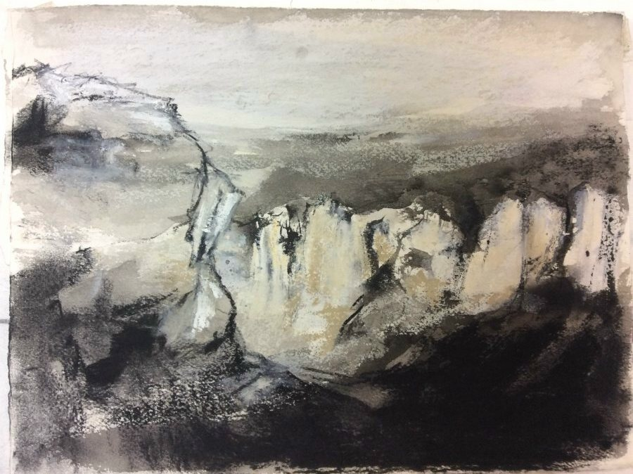 Natasha Daniloff: Escarpment,1 28x37 cm oil stick, ink 2017