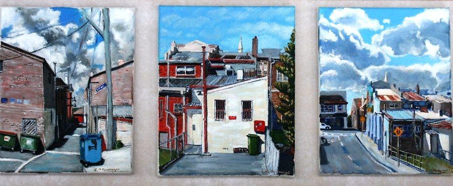 Linda Hemmings: Katoomba Triptych 100 x 30 cm oil June 2016