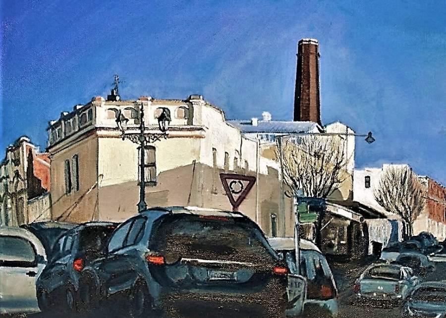 Linda Hemmings: Chicken Shop, Katoomba 61 x 61 cm oil July 2016