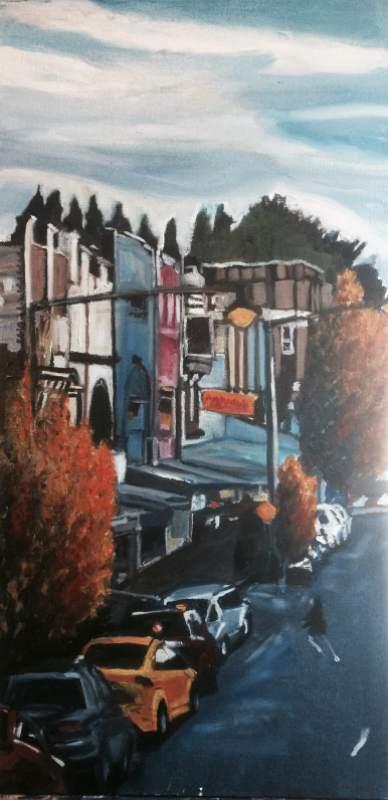 Linda Hemmings: Autumn, Katoomba St 45 x 70 cm oil March 2017