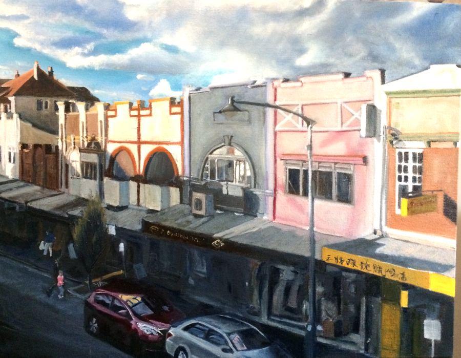 Linda Hemmings: Shop Fronts, Katoomba St 61 x 76 cm oil September 2017