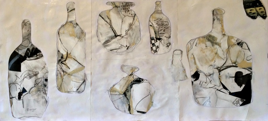 Peter Burger: Bottles and Vase 90 x 44 cm Ink and acrylic on paper Sept 2017