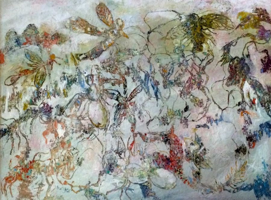 Peter Burger: Insects 120 x 90 cm Oil on board Sept 2015