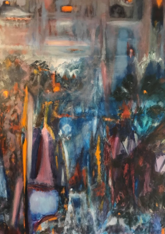 VANESSA WHITTINGTON: Night embers 91w X 123h mixed media on canvas 2017