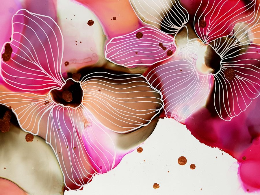 Julie Hansen: Pink Flower 30 X 42 Yupo Paper, Alcohol Ink, Isopropyl Alcohol, Posca Pen