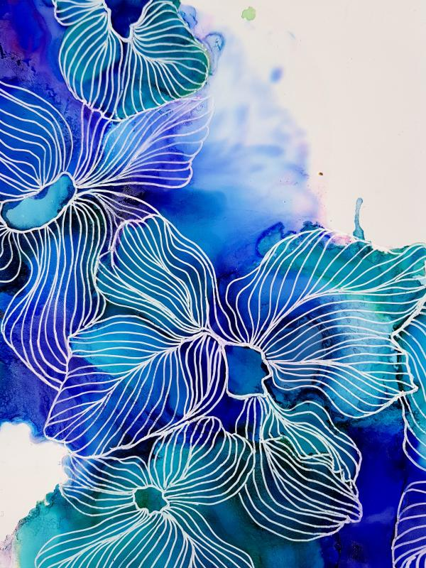 Julie Hansen: Blue Amerylis 30 X 42 Yupo Paper, Alcohol Ink, Isopropyl Alcohol, Posca Pen