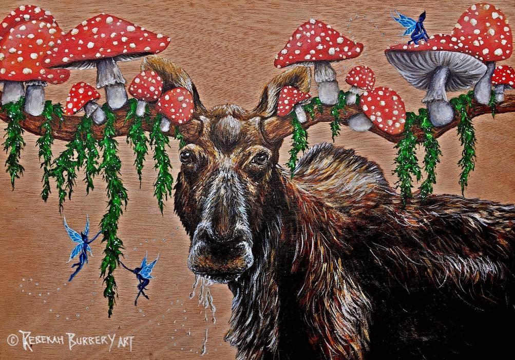 Rebekah Burbery:  Funguy moose,  297 x 420 mm., acrylic on board,2018