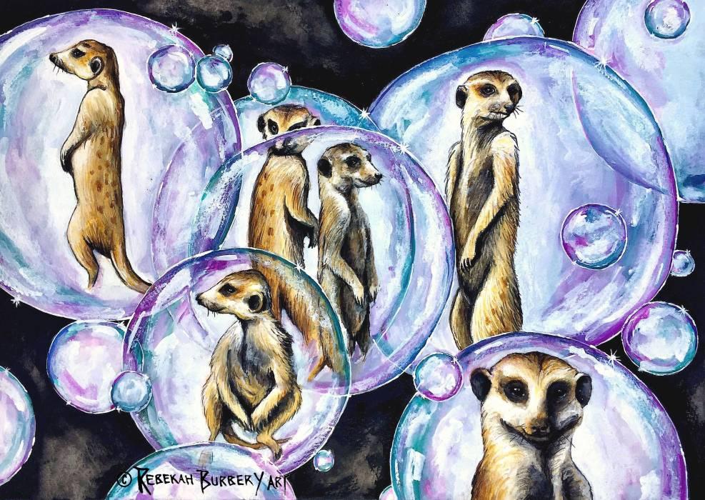 Rebekah Burbery:  Meerkat Madness,297 x 420 mm,watercolour and ink,2018