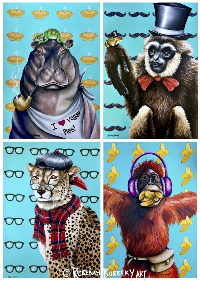 Rebekah Burbery:  Wacky Animal Series,4 - 420 x 594 mm,acrylic on paper,2017/18