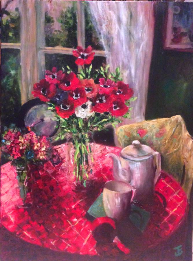 Jennifer Edwards:  The Red Tablecloth		Oil on Canvass	2017