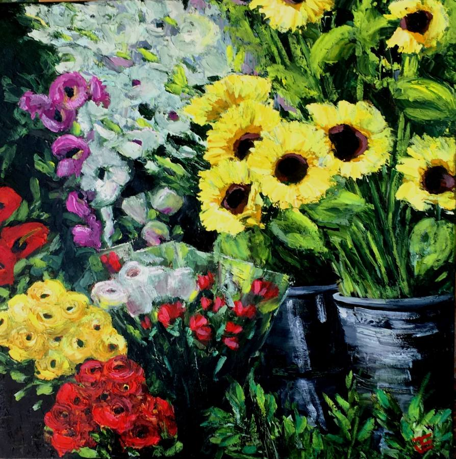 Jennifer Edwards:  Full Bloom		Oil on Canvass	2018