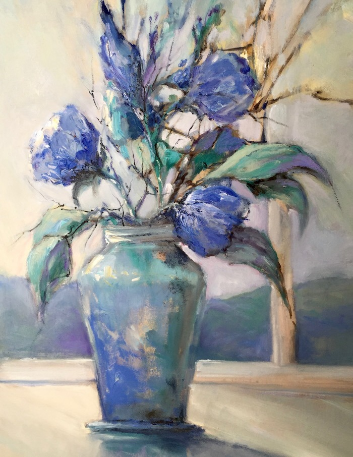 LEONIE LYALL:  STILL LIFE IN BLUE	50x40cm	OIL	2016 (sold)