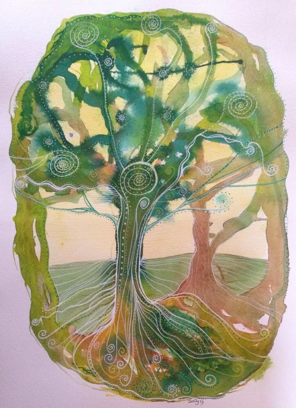 Sally Gersbach:  Sunlit Tree	29.7x42cm	Mixed Media