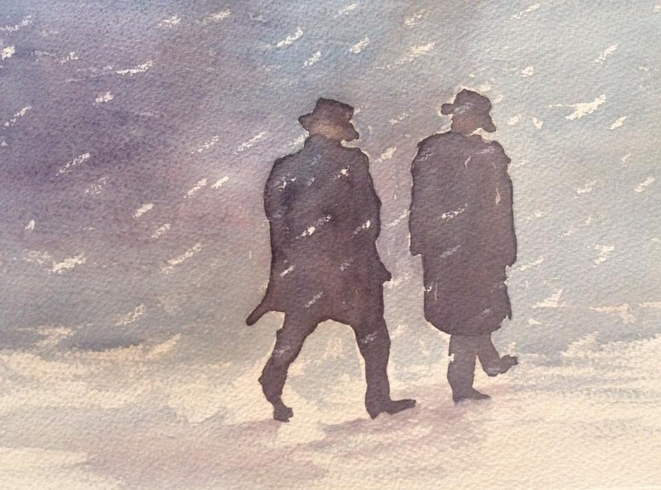 Sally Gersbach:  Winter Coats	21x29.7cm	Watercolour