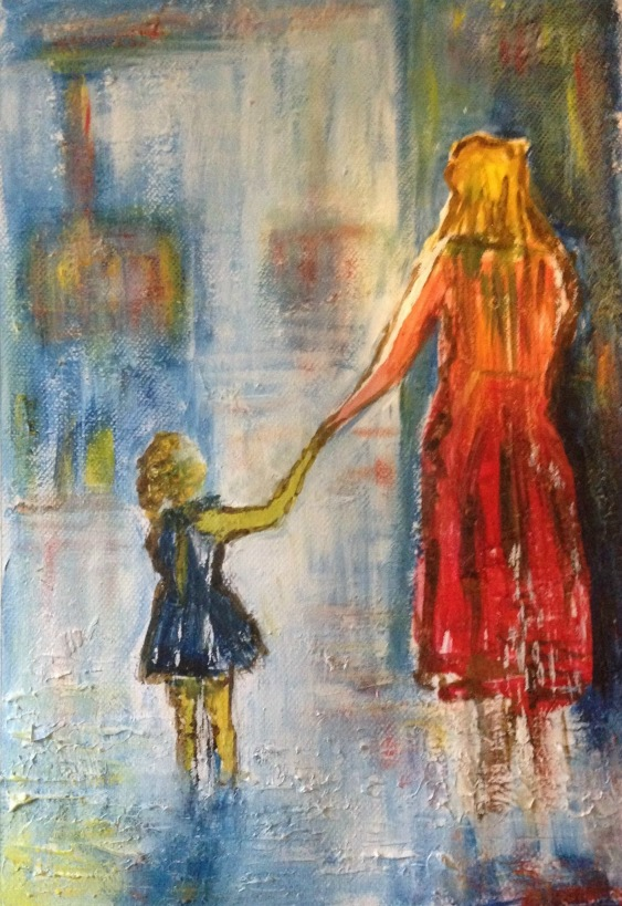 Sally Gersbach:  This Way, Mummy!	29.7x42cm	Acrylic