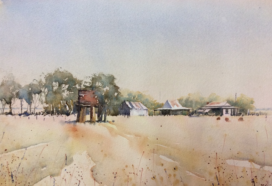 Annie Joseph: Cottages at Old Ellerslie 	30x40	Watercolour 	Jan 2020