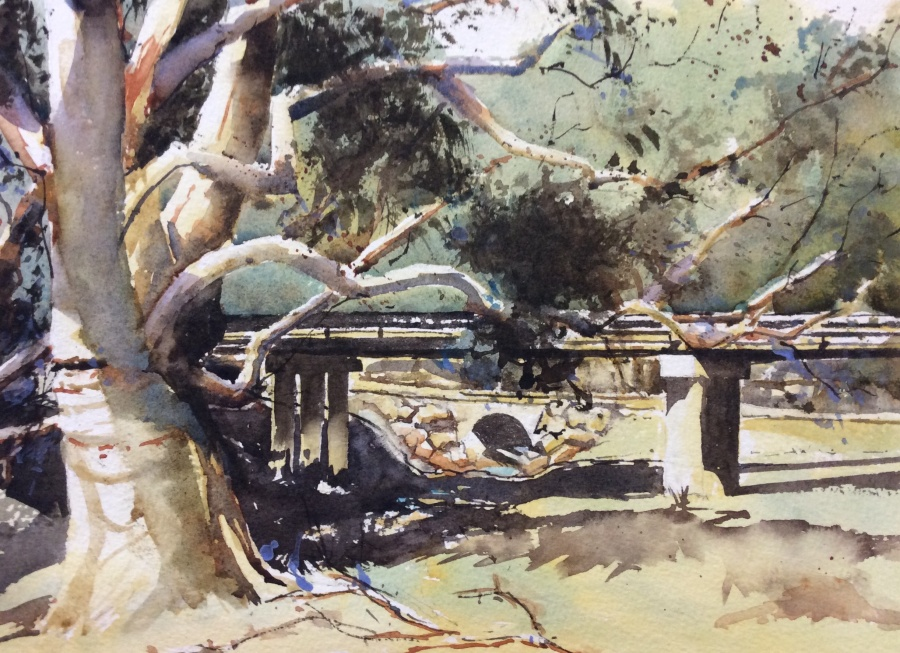 Annie Joseph: Bridge and Old Tree at Greenethorpe	30x40	Watercolour 	Jan 2020