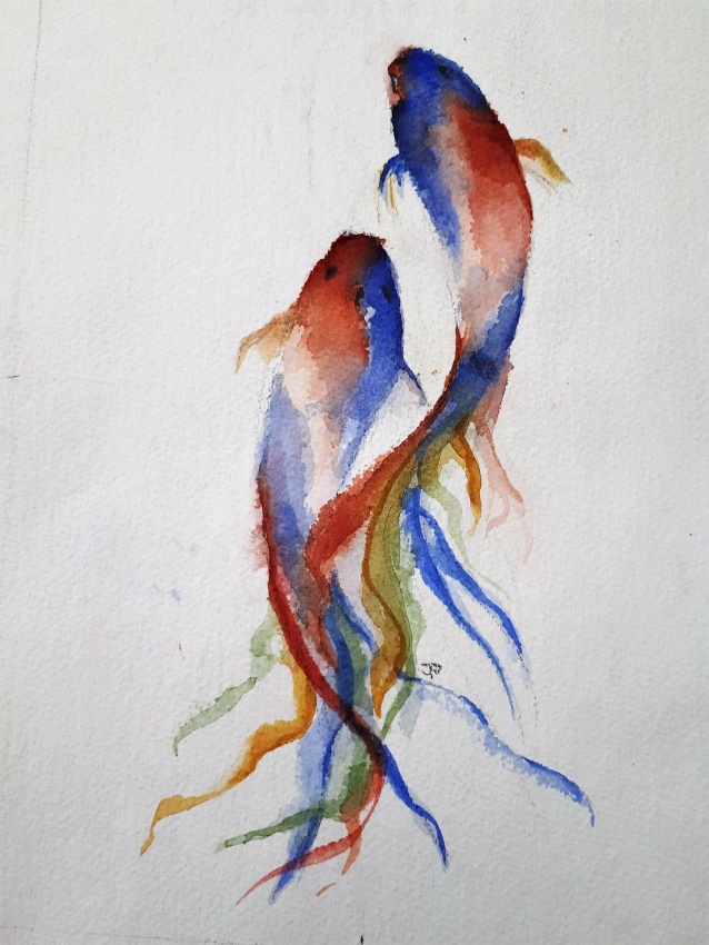 Jennifer Price: Two fish19.5cms x 27cms watercolour2018
