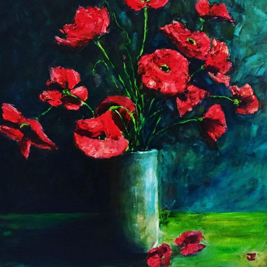 Jennifer Edwards: Drama with PoppiesOil on canvas   2019