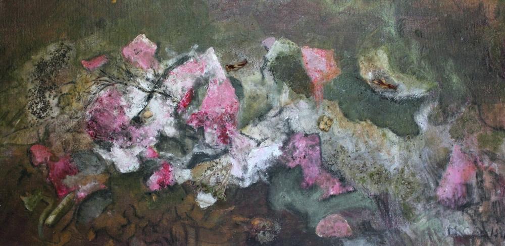 Madeline Coelho:  Acrylic Roses59cm(w) x 29cm(h)acrylic/ mixed media