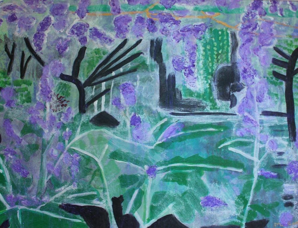 Madeline Coelho:  Monet's Garden at Giverny#159cm(w) x 43cm(h)acrylic