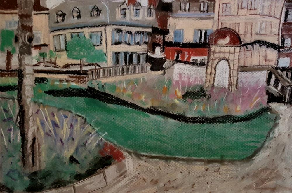 Madeline Coelho: The Town Square29cm(w) x 21cm(h)soft pastel/conte