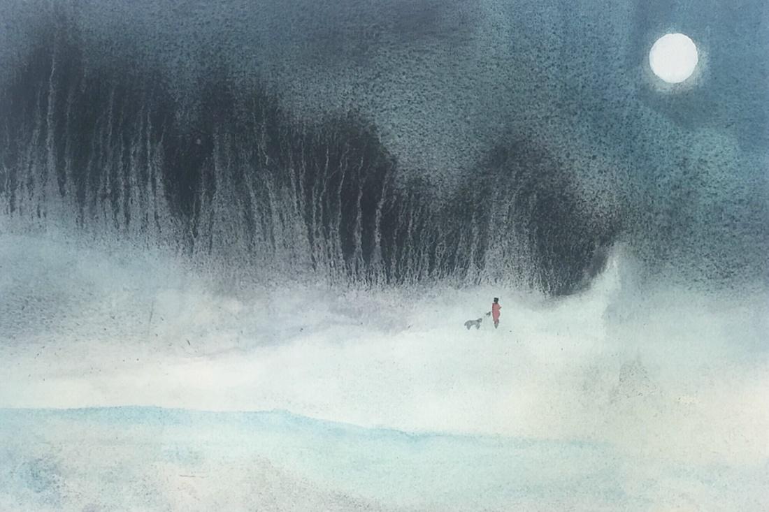 Bob Richardson:  Cold Way Home50x32Watercolour2020