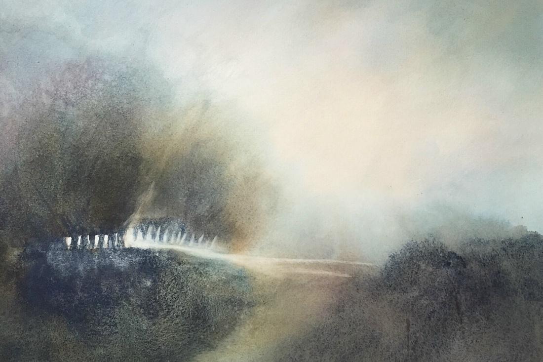 Bob Richardson:  Forest Lights65x45Watercolour 2020