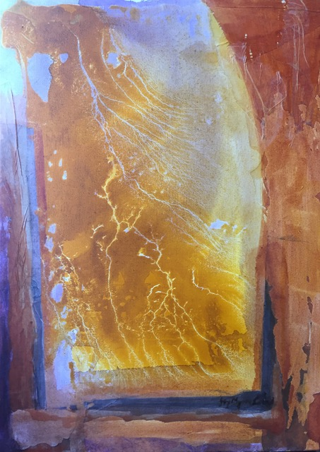 JOY MYERS CREED: Microcosm 1,    Acrylic and collage,   72 x 53cm,   2019