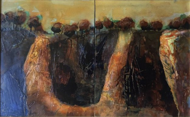 JOY MYERS CREED:  Rich Quarry,    Acrylic and collage,   54 x 84 cm,  2019