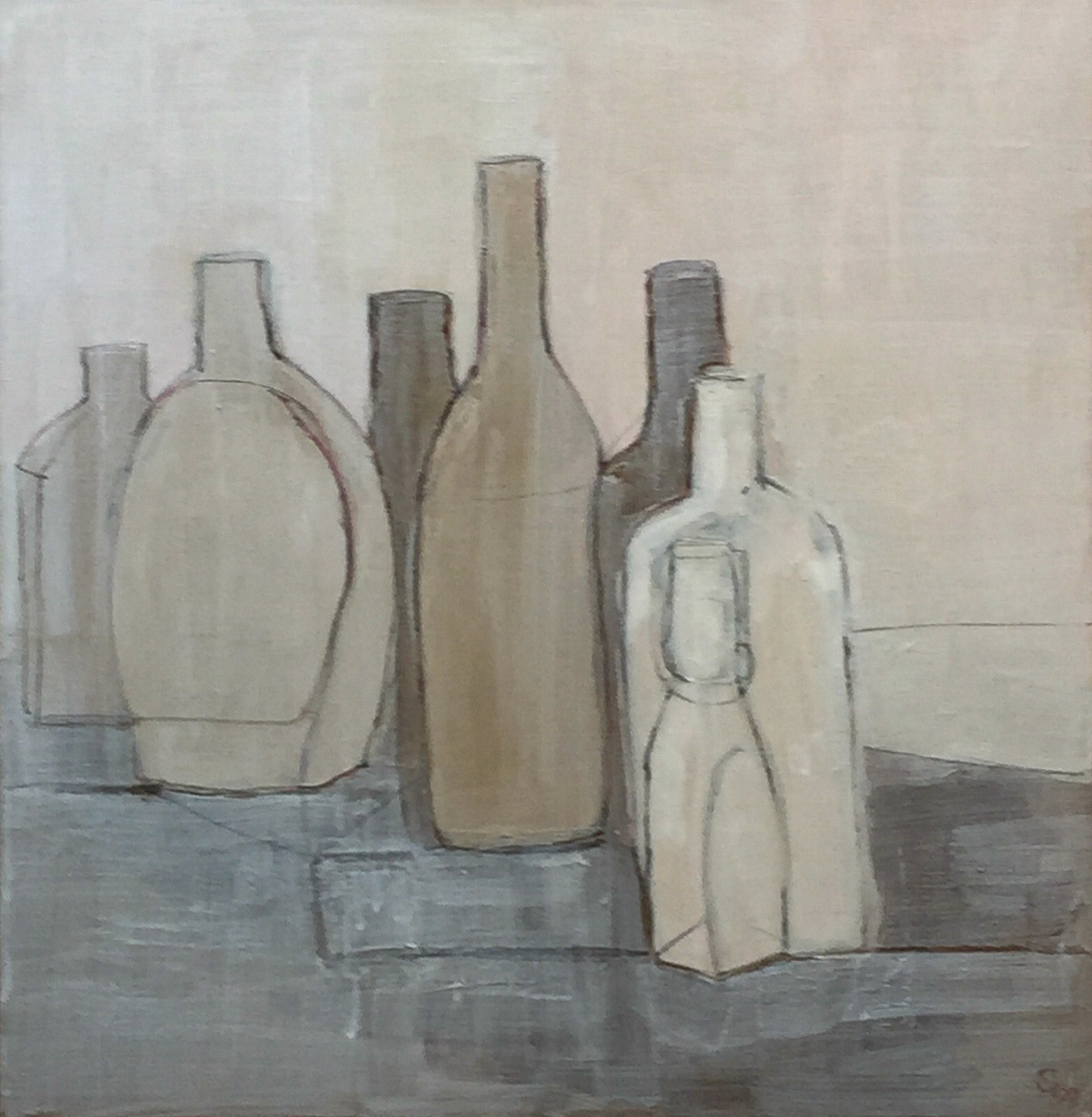 Nicole George   Bottles on Tabletop, Study    Mixed media on paper