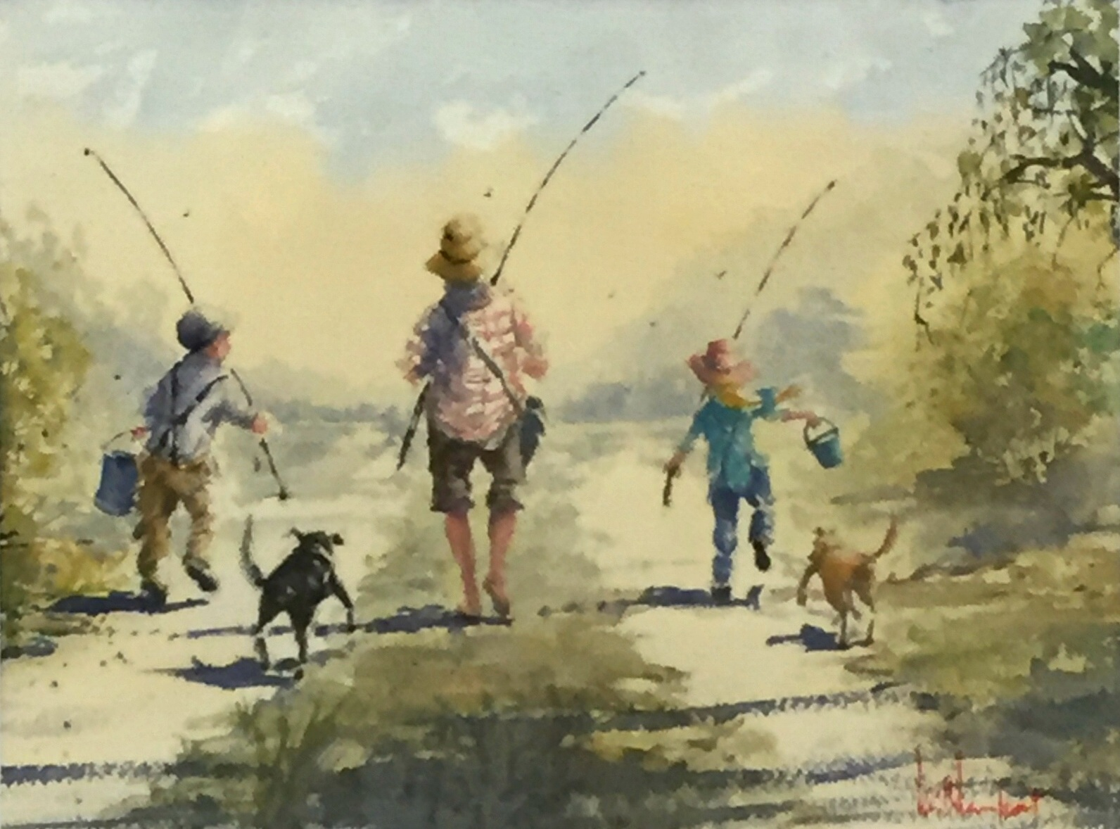 Keith Lamport   Going Fishing  Watercolour