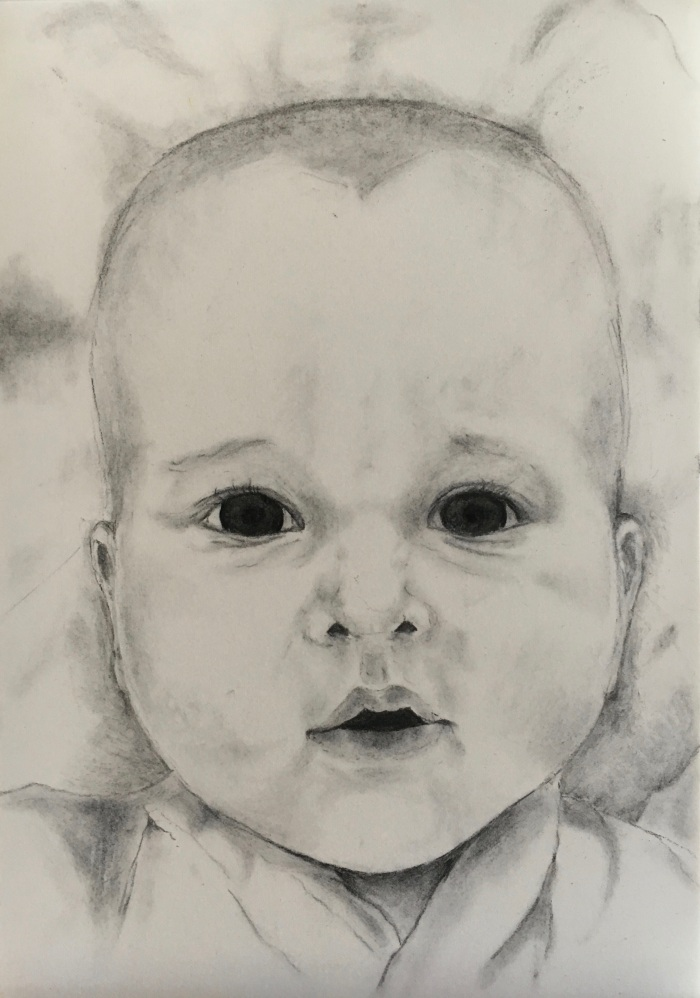 Constance Ellwood: Felix as a baby29 x 21willow charcoal2017