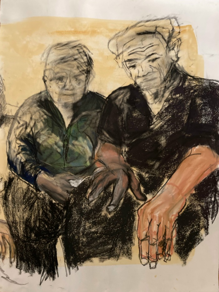 Constance Ellwood: Ma and Pa55 x 43charcoal and pastel2018