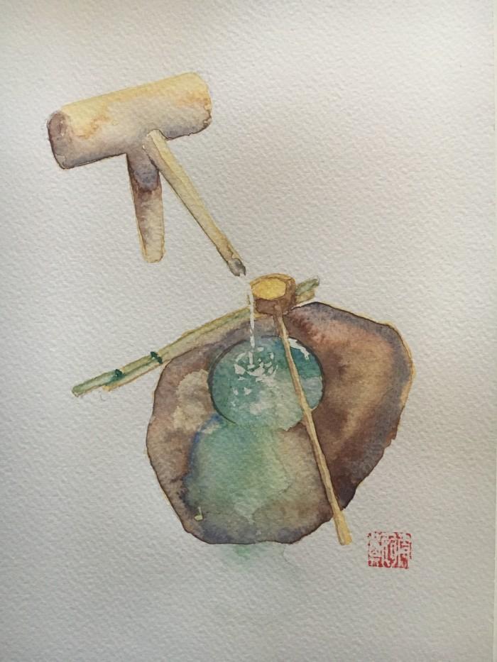 Constance Ellwood: Stone water basin28 x 20watercolour2019