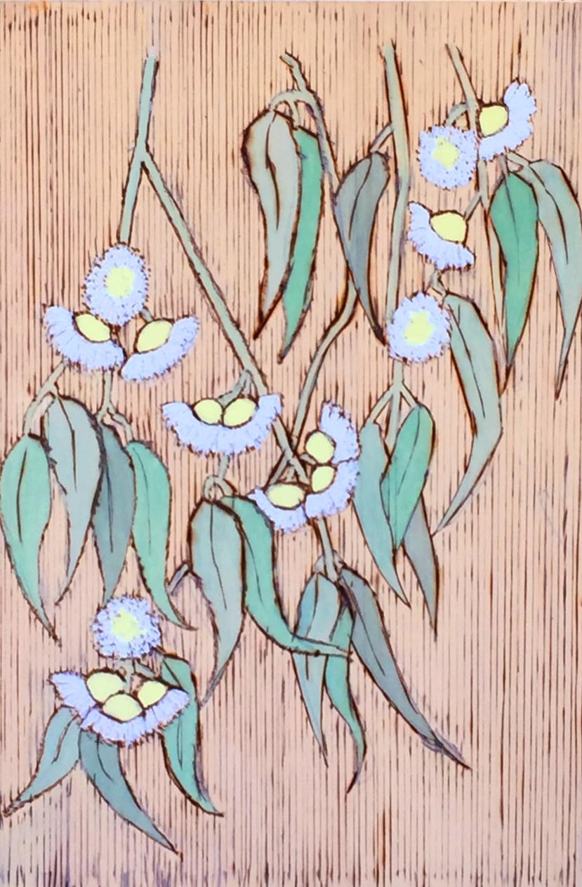 "Jeanne Rudd: Gum Blossoms   Pyrograph  9"" x 11"""