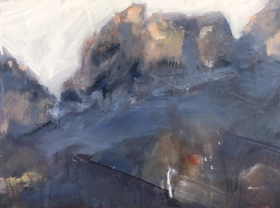 Jane Canfield;  Cliffs, Afternoon	30.5 x 41	Mixed media on BIrch	2020