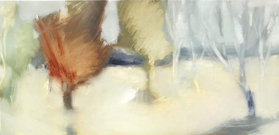 Jane Canfield;  Winter Trees, Ambermere29 x 60Mixed media on BIrch2020