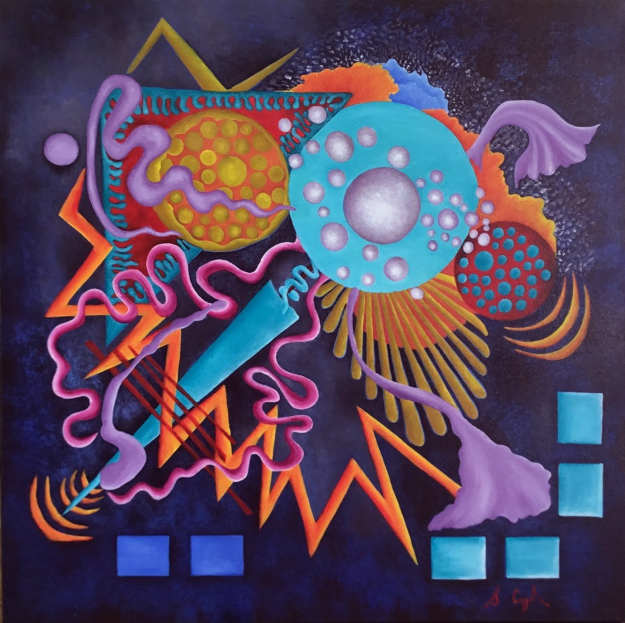 SALLY COPPARD: Interstellar Overdrive	61 x 61	oil on canvas	2015