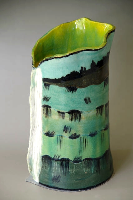 Helen Still:  Forest Castle: Cavern, Ridgeline, Gorge & Falls	40cmx12cm	Wet Slab, Sp K, Underglaze, Green Gloss	2020